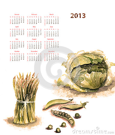 Calendar for 2013 with vegetable
