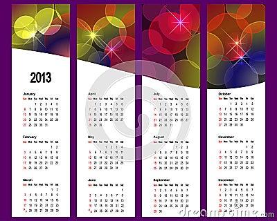 Calendar 2013 on vertical banners.