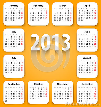 Calendar for 2013 on white stickies