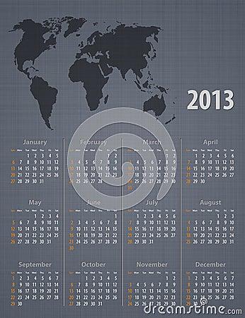 Calendar 2013 world map linen texture