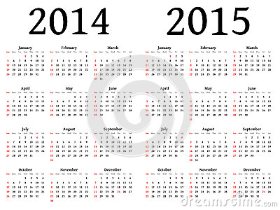 Calendar for 2014 and 2015 in vector