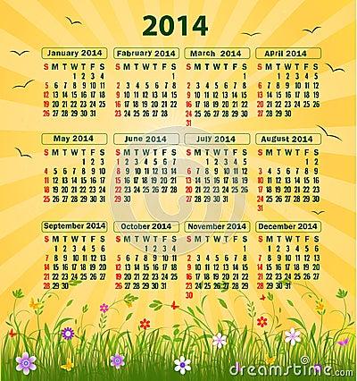 Free Calendar 2014 Royalty Free Stock Photos - 34683158