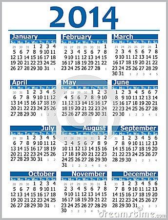 Free Calendar 2014 Stock Photos - 35558423