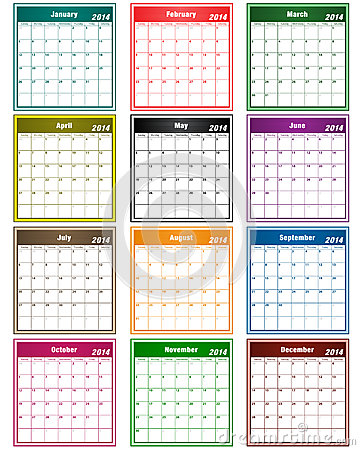 Free Calendar 2014 Assorted Colors Royalty Free Stock Photography - 33619007