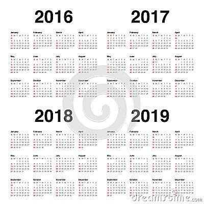 Free Calendar 2016 2017 2018 2019 Royalty Free Stock Photos - 61291588