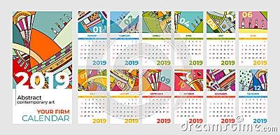 2019 calendar abstract contemporary art set. Desk, screen, desktop months 2019, colorful 2019 calendar template Vector Illustration