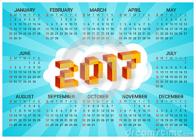 2017 calendar on a blue background in style of old 8-bit video games. Week starts from Sunday. Ð¡olorful 3D Pixel Letters Vector Illustration