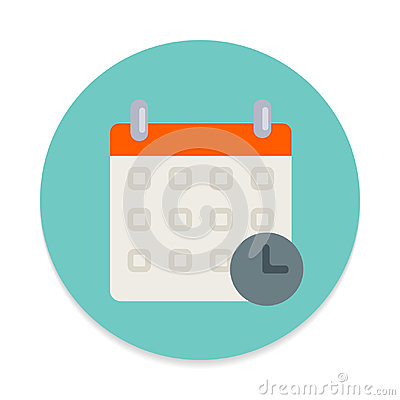 Calendar with clock flat icon. Round colorful button, Schedule, event date circular vector sign. Vector Illustration