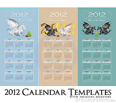 Calendar collection 2012 with stylized dragons