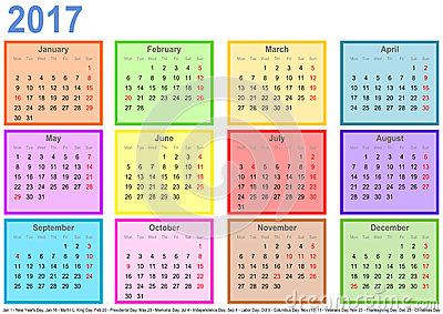 Calendar 2017 With Colorful Fields Per Month And Holidays USA Stock ...