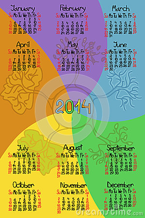 Calendar 2014 with comic handmade font