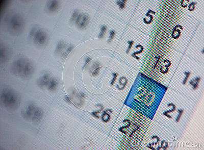 Calendar, computer screen