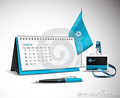 Calendar Corporate Identity Mockup Set Vector Illustration