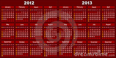 Calendar of dark red color.