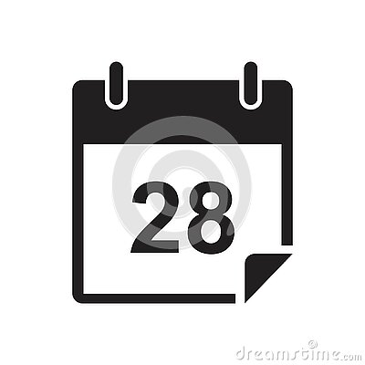 Calendar date, Date notes business, office event icon template black color . Calendar date symbol Flat illustration Cartoon Illustration