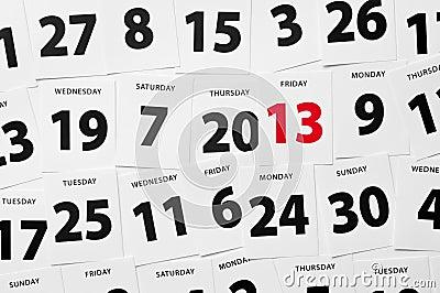 Calendar date friday 13
