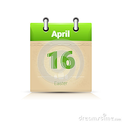 Free Calendar Date Page Easter Holiday 16 April Stock Photo - 80101880