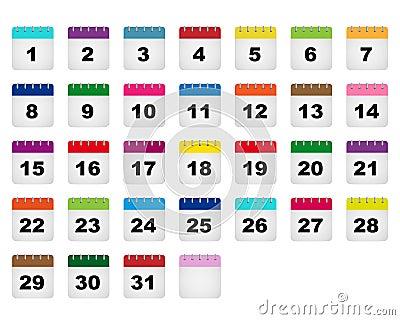 Calendar days icons