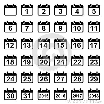 Free Calendar Days Icons Set Stock Photos - 57765293