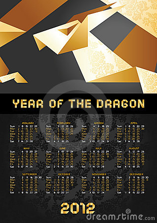 Calendar - Dragon Origami 2012 Year