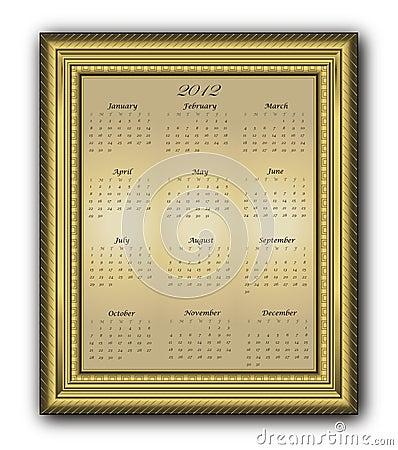 Calendar elegant Frame gold 2012