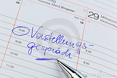 Calendar Entry Interview Stock Photo - Image: 29385460