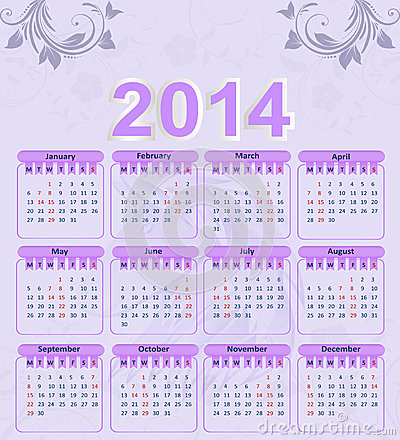 Calendar for 2014 with a floral pattern