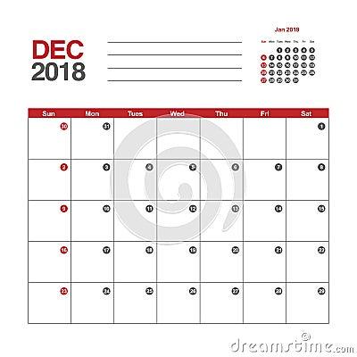 Free Calendar For December 2018 Royalty Free Stock Photos - 92929348
