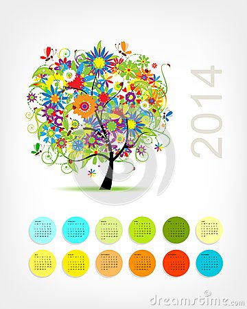 Calendar 2014 with four season tree for your