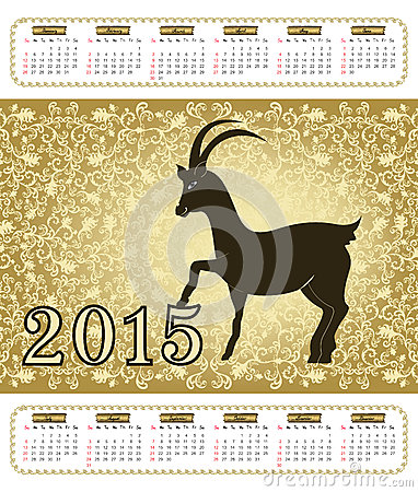 Calendar with a goat in 2015 with vintage pattern
