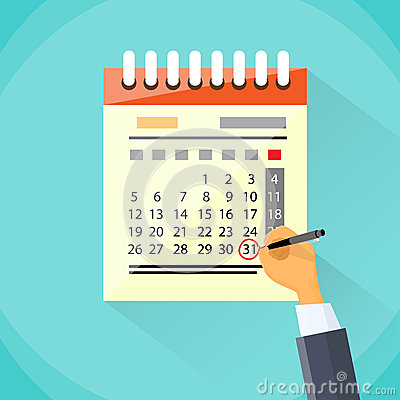 Free Calendar Hand Draw Pen Red Circle Date Last Day Royalty Free Stock Photography - 55383287