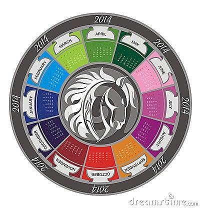 Calendar 2014 with horse