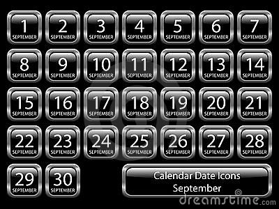 Calendar Icon Set - September