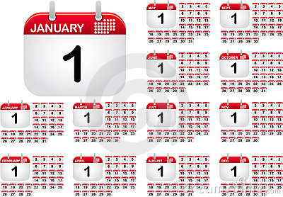 Calendar icons for all monthes of the year