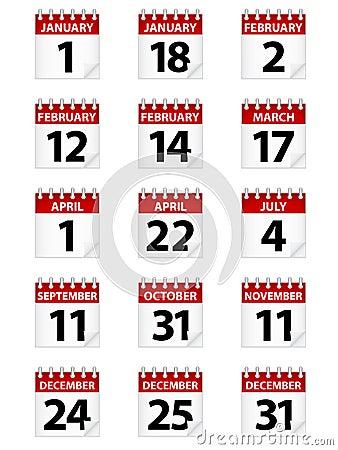 Calendar Icons EPS