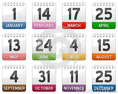 Calendar Icons Set Vector Illustration