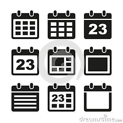 Calendar Icon Vector Black Calendar icons set.