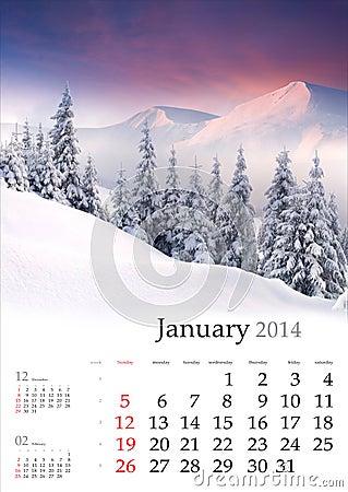 2014 Calendar. January.