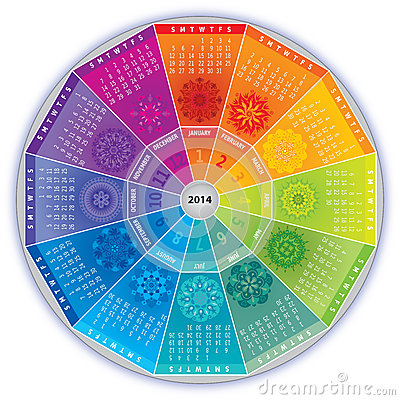 2014 Calendar with Mandalas in Rainbow Colors