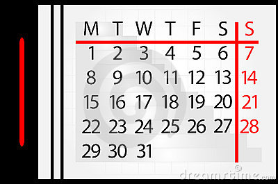 Calendar on month