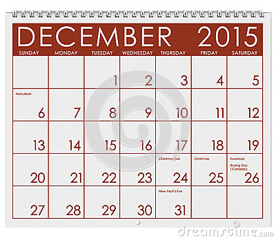 2015 Calendar: Month Of December Stock Illustration - Image: 45462308