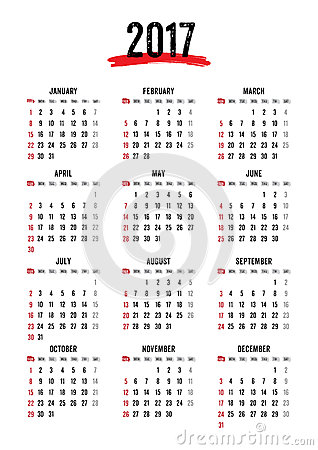 2017 12 Month Calendar – Printable Pages