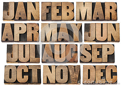 Calendar months in wood type