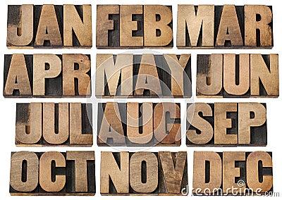 Calendar months in wood type