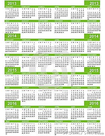 Calendar, New Year  2013, 2014, 2015, 2016