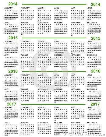 Calendar New Year 2014 2015 2016 2017 Royalty Free Stock Photos ...