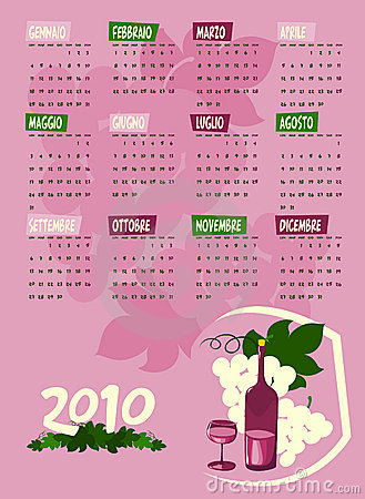 Calendar of next year with grapes and wine