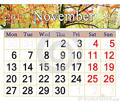 Calendar for November 2017 with yellow leaves in park Stock Photo