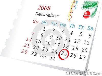 calendar page december 2008