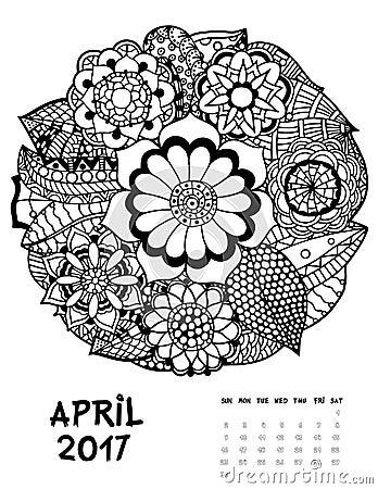 april 2017 calendar line art black and white illustration flower set print anti stress coloring page